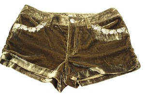 Free People Velvet W Floral Embroidery In Moss Combo Shorts Green