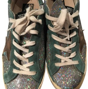 Golden Goose Deluxe Brand Glitter Silver. Green. Brown. Athletic