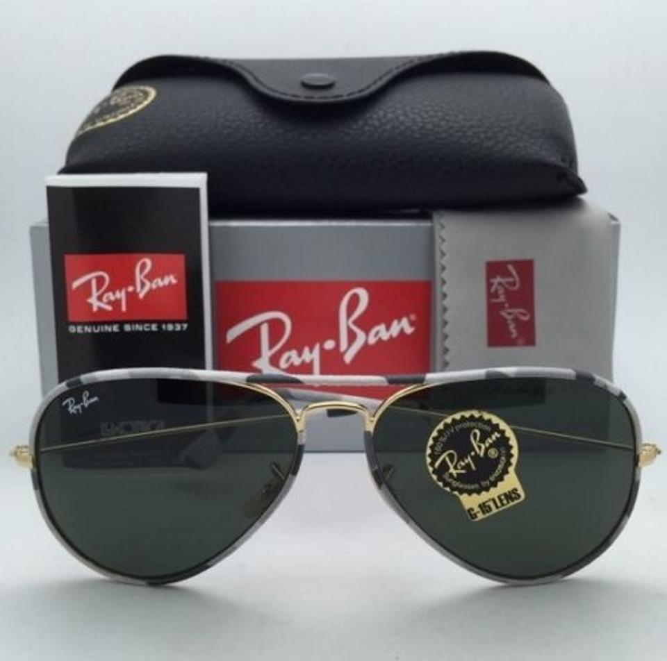 1b15ea057d5 Ray-Ban Rb 3025-j-m 171 Grey Camouflage   Gold New Aviator Full ...