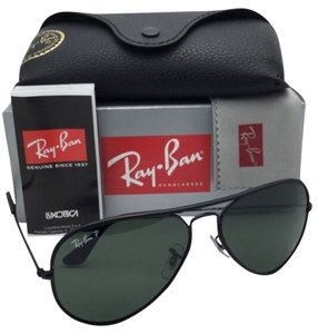 Ray-Ban New RAY-BAN Sunglasses Aviator Full Color RB 3025-J-M 002/58 Black Frame w/Polarized Green Lenses