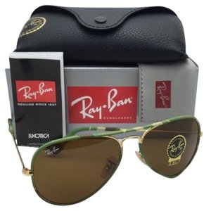 Ray-Ban New RAY-BAN Sunglasses AVIATOR FULL COLOR RB 3025-J-M 169 Green Camouflage Frame w/Brown Lenses
