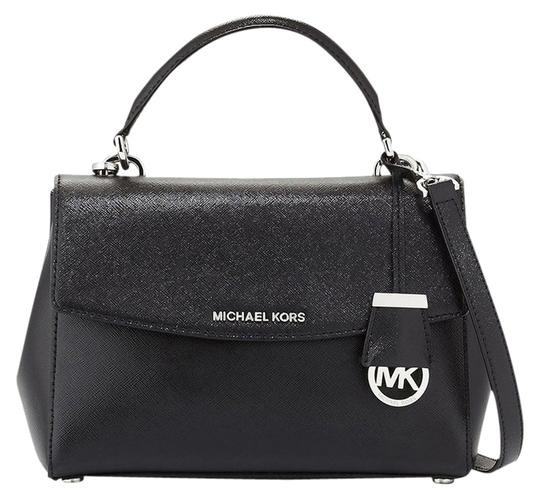 b6d8f35a1c7b Michael Kors New Ava Small Top Handle Black Silver Leather Satchel ...