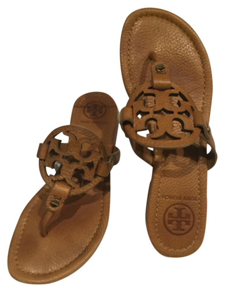 67053cb4f Tory Burch Royal Tan Tumbled Leather Tb Miller Sandals Size US 6 ...