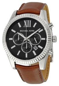 Michael Kors Silver tone Black Dial Brown Leather Strap Casual Dress Designer Mens Watch