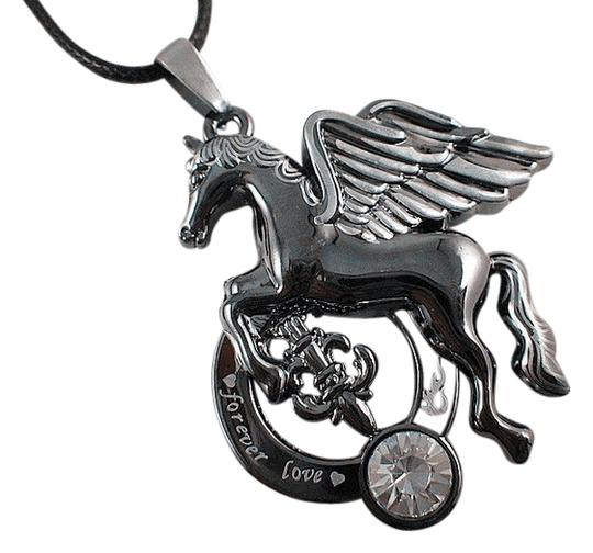 Unknown Stainless Steel Pegasus Horse Forever Love Necklace Free Shipping