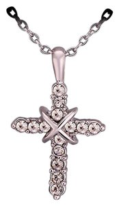 18K White Gold GP Crystal Delicate CROSS Women Necklace 18''