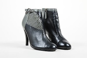 Chanel Gray Leather Black Boots