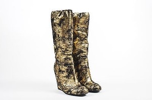 Chanel Metallic Black Suede Embellished Cc Wedge Calf Gold Boots