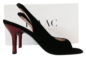 Isaac Mizrahi Black Suede Slingback Open Toe Black, Red Pumps