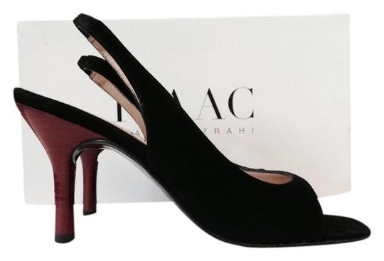 Isaac Mizrahi Suede Slingback Open Toe Black, Red Pumps