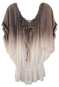Do & Be Boho Sheer Vintage Style Top Grey to White Ombre