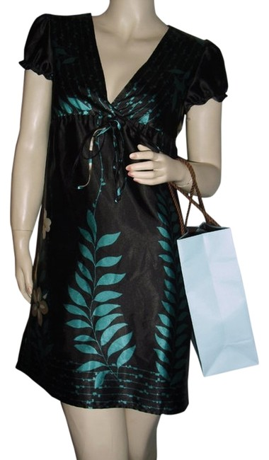 Item - Black Teal Turquoise Drawstring @ Fashionista Style Boutique Above Knee Work/Office Dress Size 4 (S)