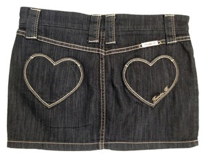Frankie B Denim Heart Pocket Mini Mini Skirt Indigo
