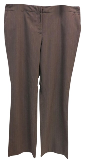 New York & Company Trouser Pants Brown with light blue and tan stripes