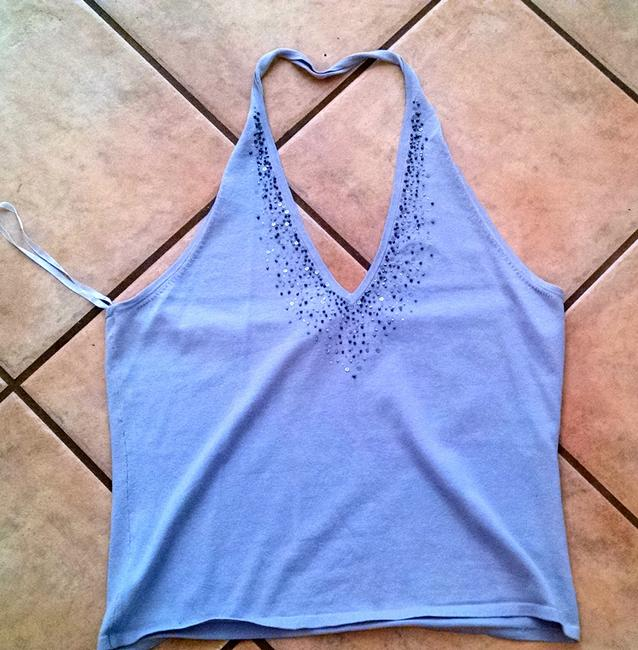 New York & Company P839 Co. Silk Blend Stretchy Beaded With Tags Cute purple Halter Top