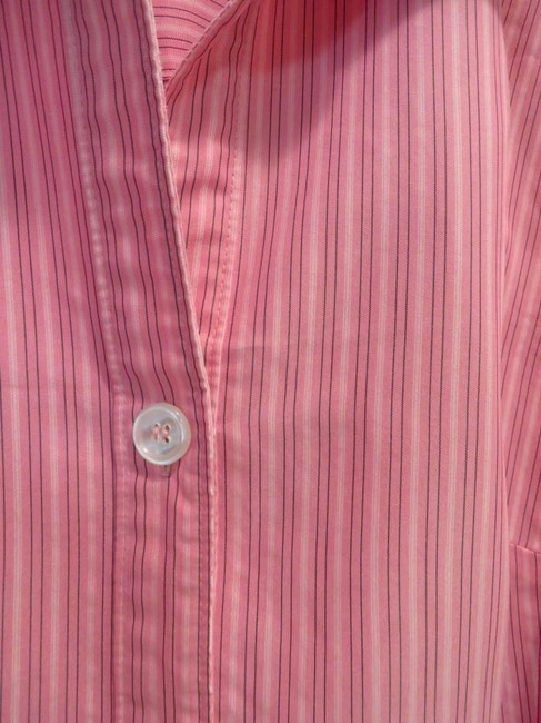 dressbarn Top Pink with black and white stripes