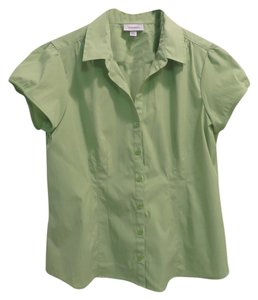 dressbarn Button Down Shirt lime green
