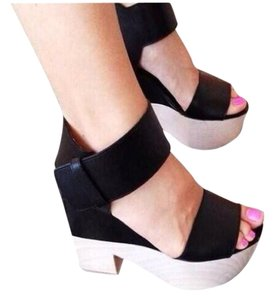 Cline Wooden Leather Black Wedges