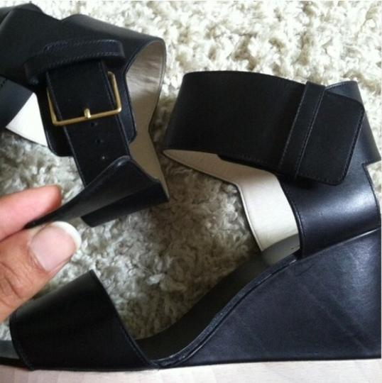 Céline Wooden Leather Black Wedges