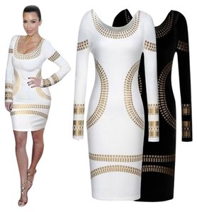 Miusol Cocktail Sundress Pencil Women's Cut Long Sleeves Party Gold Short Dress
