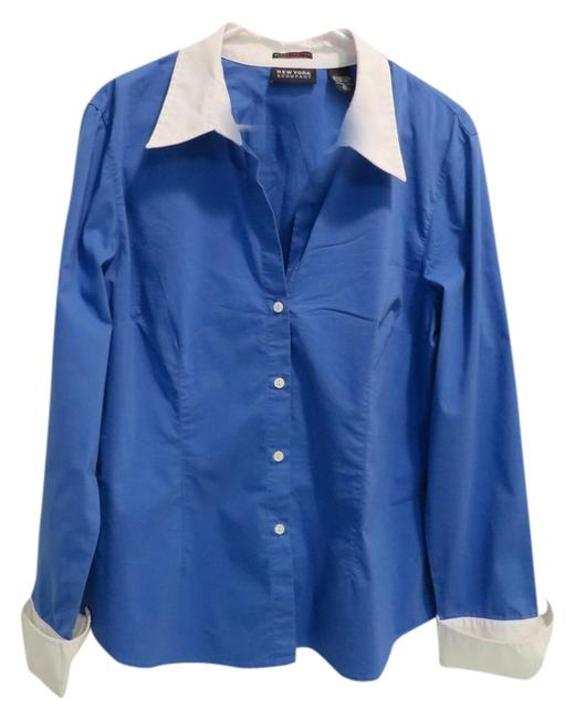 New York & Company Longsleeve Button Down Shirt Blue with white