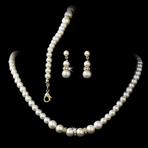 Elegant Gold Ivory Pearl 3 Piece Jewelry Set Gift Boxed