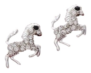 Unknown Silver Rhinestone Horse Stud Earrings Free Shipping