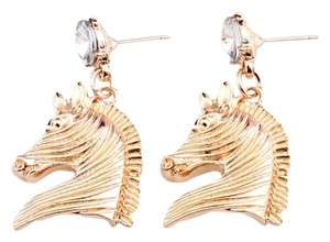 Unknown Gold Tone Dangle Horse Head Earrings