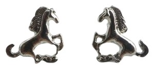 Unknown Silver Stud Horse Earrings