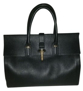 Balenciaga Gold Hardware Leather Tube Finalsale Satchel in black