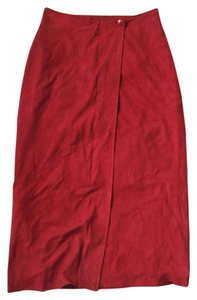 Paul Stuart Suede Wrap Skirt Red