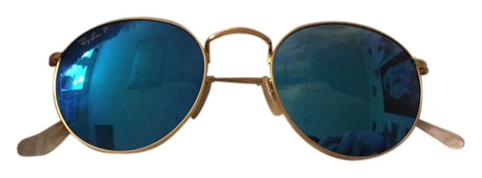 2669fc64ca ... 002 round metal sunglasses g 15 black frame 50mm sunglasses 30a91 uk ray  ban authentic ray ban rb3447 round metal remix blue flash lens gold frame  100 ...