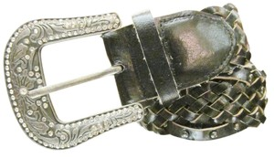 Other Vintage Leather Woven Belt Crystal encrusted silver Western buckle size S/M