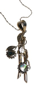 New Solid Sterling Silver Abalone Shell Leaf Branch Necklace J2113
