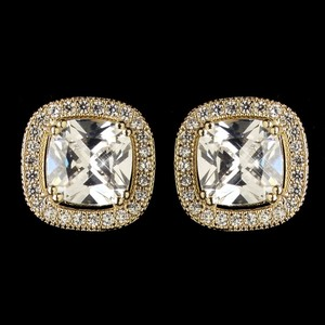 Elegance By Carbonneau Gold Clear Cubic Cz Crystal Stud Earrings 9720
