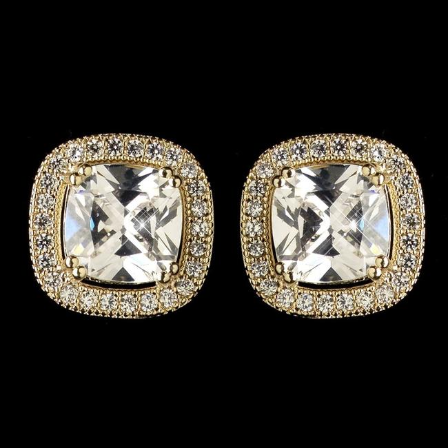 Item - Gold Clear Cubic Cz Crystal Stud 9720 Earrings