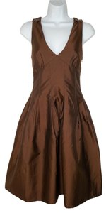Burberry Taffeta Silk Sheen V-neck Brown Dress