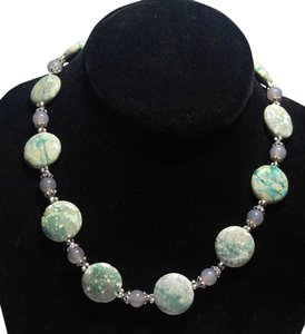 New Light Green Raw Turquoise & Agate Gemstone Necklace 18 in. J2114