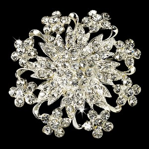 Elegance by Carbonneau Silver Magnificent Rhinestone Floral Crystal 3166 Brooch/Pin