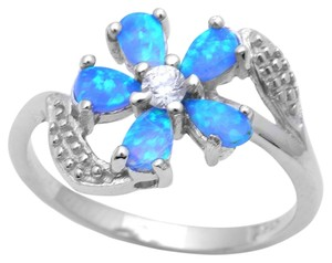 9.2.5 Gorgeous fire blue opal flower silver ring. Size 7.