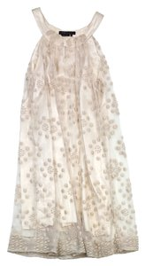 BCBGMAXAZRIA short dress Cream Mesh Circle Print on Tradesy