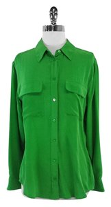 Equipment Green Silk Shirt Button Down Shirt