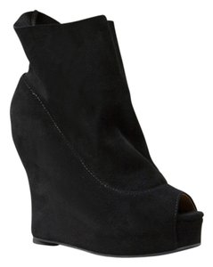 Jeffrey Campbell Suede Ankle Peep Toe Black Wedges