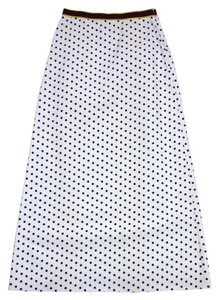 Marni White Blue Polka Dot A-line Maxi Skirt