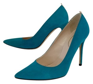 SJP Teal Suede Pointed Toe Pumps