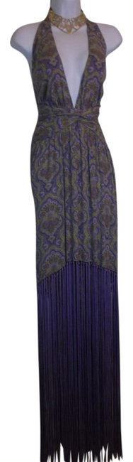 Item - Purple Collection Paisley Fringe Maxi Gown Italy Long Formal Dress Size 8 (M)
