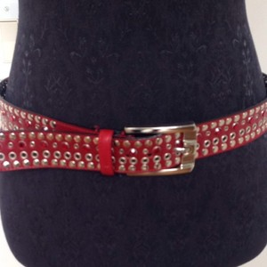 vitanuova made Firenze Red Studded Leather Belt