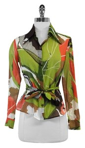 MILLY Lime Multi Color Print Cotton Top