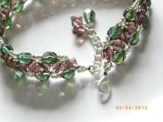 Other Purple swarovski crystal olive fire polished beaded beads handmade bracelet