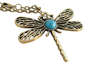 New Dragon Fly Necklace Large Pendant Antiqued Gold Blue J2115